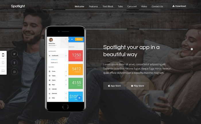 Spotlight - A Responsive WordPress Theme For Apps Promotion